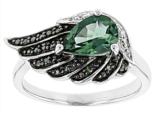 Photo of .97ct Green Apatite With .03ctw White Zircon And .04ctw Green Diamond Accents Sterling Silver Ring - Size 8