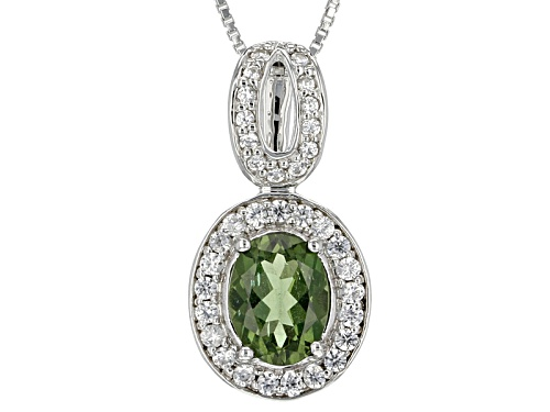Photo of 1.49ct Oval Green Apatite With .47ctw Round White Zircon Sterling Silver Pendant With Chain