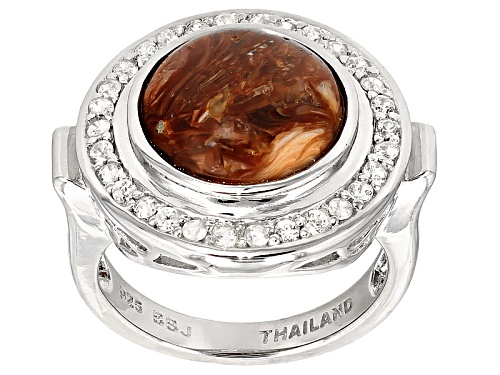 Photo of 12mm Round Cabochon Mexican Caramel Spice Opal, .57ctw Round White Zircon Silver Ring - Size 7