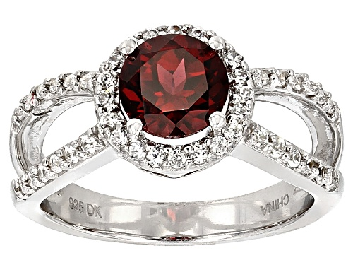 Photo of 1.25ct Round Raspberry Color Rhodolite And .41ctw Round White Zircon Sterling Silver Ring - Size 7