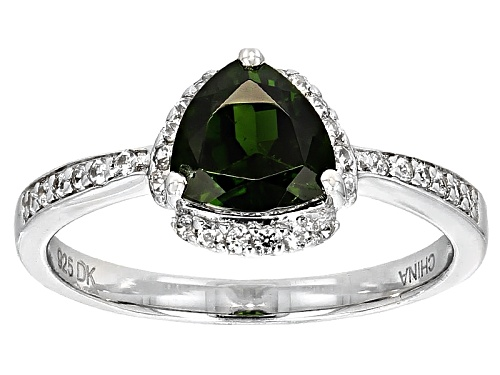 Photo of 1.25ct Trillion Russian Chrome Diopside And .25ctw Round White Zircon Sterling Silver Ring - Size 7