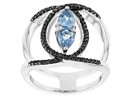 .50ctw Pear Shape Aquamarine And .26ctw Round Black Spinel Sterling Silver Ring - Size 7