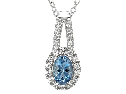 Photo of .38ct Oval Aquamarine And .14ctw Round White Zircon Sterling Silver Pendant With Chain