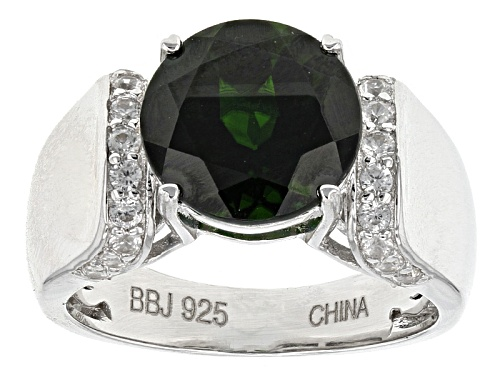 Photo of 3.57ct Round Russian Chrome Diopside With .38ctw Round White Zircon Sterling Silver Ring - Size 7