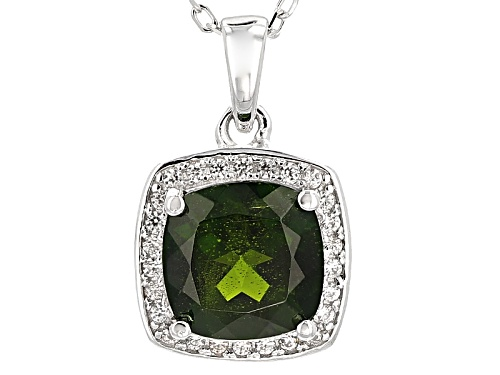 Photo of 1.58ct Cushion Russian Chrome Diopside With .16ctw White Zircon Silver Pendant With Chain