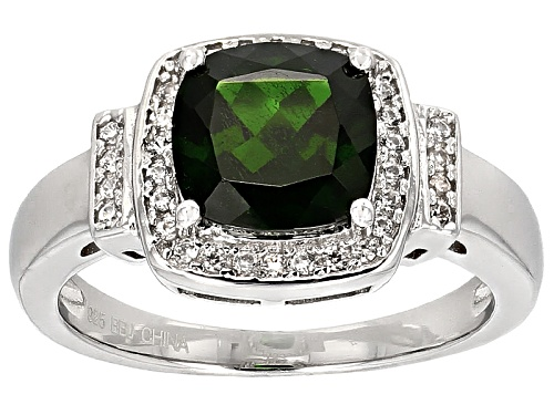 Photo of 1.80ct Cushion Russian Chrome Diopside With .21ctw Round White Zircon Sterling Silver Ring - Size 8