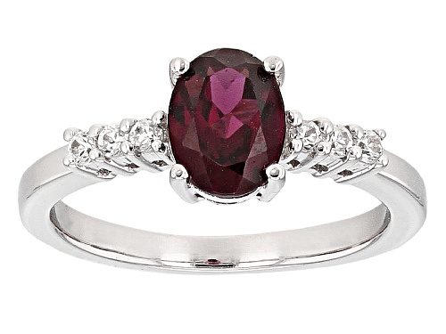 Photo of 1.29ct Oval Raspberry Color Rhodolite And .17ctw Round White Zircon Sterling Silver Ring - Size 9