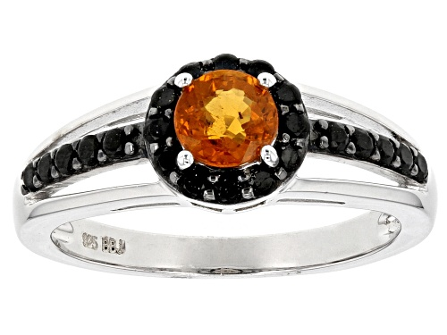 Photo of .56ct Round Mandarin Garnet And .35ctw Round Black Spinel Sterling Silver Ring - Size 9
