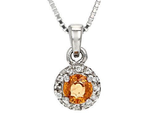 Photo of .56ct Round Mandarin Garnet With .07ctw Round White Zircon Sterling Silver Pendant With Chain