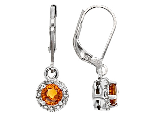 Photo of 1.02ctw Round Mandarin Garnet With .14ctw Round White Zircon Sterling Silver Dangle Earrings
