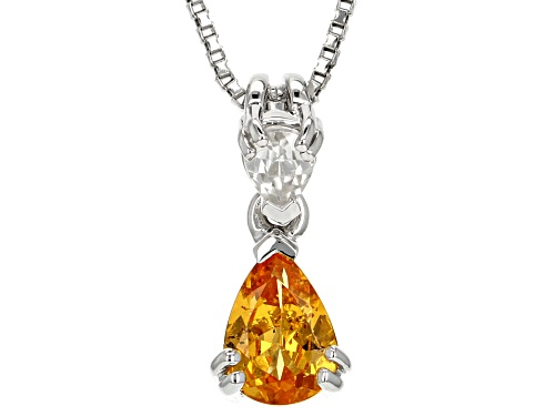 Photo of .60ct Pear Shape Mandarin Garnet With .20ct Pear Shape White Zircon Silver Pendant With Chain