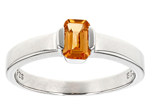 .56ct Emerald Cut Mandarin Garnet Sterling Silver Solitaire Sterling Silver Ring - Size 7