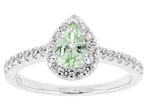 Photo of .48ct Pear Shape Tsavorite Garnet And .48ctw Round White Zircon Sterling Silver Ring - Size 9