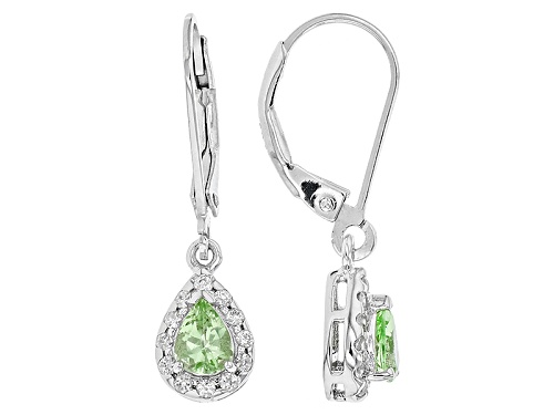 Photo of .51ctw Pear Shape Tsavorite And .18ctw Round White Zircon Sterling Silver Dangle Earrings
