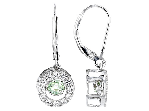 Photo of .46ctw Dancing Round Tsavorite And .82ctw Round White Zircon Sterling Silver Dangle Earrings