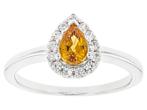 Photo of .46ct Pear Shape Mandarin Garnet With .23ctw Round White Zircon Sterling Silver Ring - Size 9