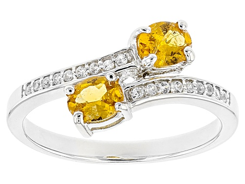 Photo of .68ct Oval Mandarin Garnet With .10ctw Round White Zircon Sterling Silver 2-Stone Bypass Ring - Size 6