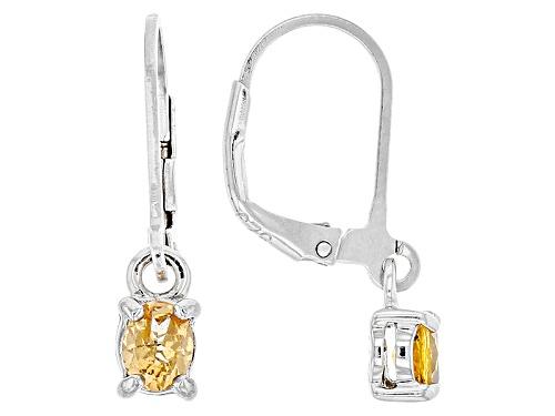 Photo of .68ctw Oval Mandarin Garnet Sterling Silver Solitaire Dangle Earrings