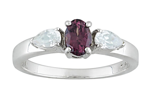 Photo of .48ct Oval Multicolor, Color Shift Garnet With .47ctw Pear Shape White Zircon Silver Ring - Size 8
