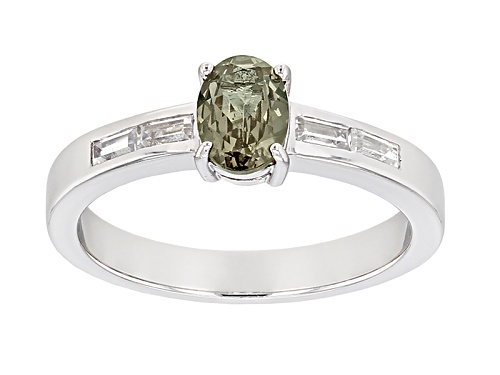 Photo of .48ct Oval Multicolor, Color Shift Garnet And .20ctw Baguette White Zircon Sterling Silver Ring - Size 8