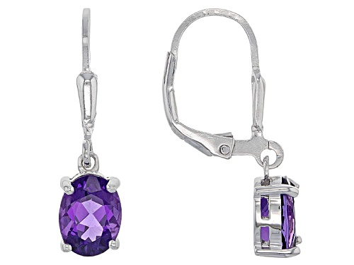 Photo of 1.60ctw Oval African Amethyst Sterling Silver Solitaire Dangle  Earrings