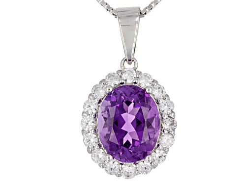 Photo of 1.99ct Oval Moroccan Amethyst With .73ctw Round White Zircon Sterling Silver Pendant With Chain