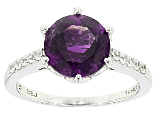 Photo of 2.08ct Round Moroccan Amethyst And .17ctw Round White Zircon Sterling Silver Ring - Size 10