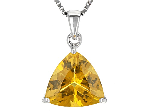 Photo of 2.32ct Trillion Brazilian Fire Opal Sterling Silver Solitaire Pendant With Chain