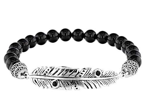Photo of Southwest Style By JTV™ Black Onyx And 0.24ctw Black Spinel Rhodium Over Sterling Silver Bracelet