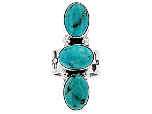 Photo of Southwest Style By JTV™ 14x10mm Oval Turquoise Silver Hand-Crafted Ring - Size 8