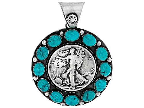 Photo of Southwest Style By JTV™ 9x7mm Oval Turquoise Hand Crafted Silver Coin Pendant