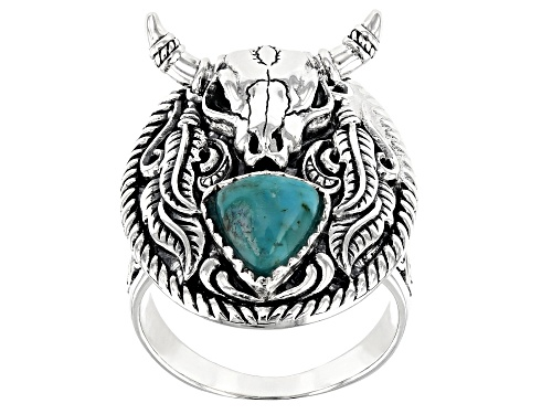 Photo of Southwest Style By JTV™ Mens 8mm Trillion Turquoise Rhodium Over Silver Longhorn Cattle Skull Ring - Size 12
