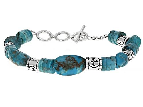 Southwest Style By JTV™  Mens Fancy Shape Turquoise Rhodium Over Silver Bracelet - Size 8