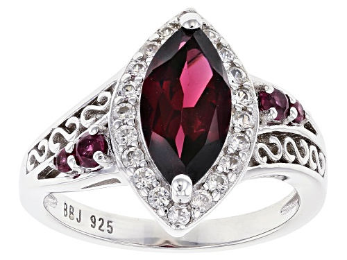 2.05ctw Mixed Shaped Raspberry Color Rhodolite and 0.46ctw Zircon Rhodium Over Silver Ring - Size 10