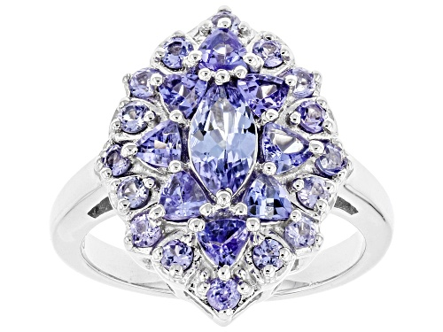 Photo of 1.80ctw Mixed Shape Tanzanite Rhodium Over Sterling Silver Cluster Ring - Size 10