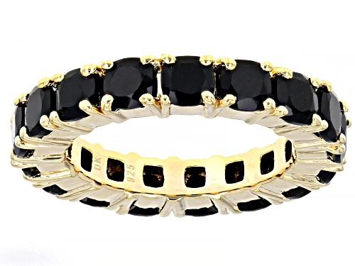 Photo of 6.00CTW CUSHION BLACK SPINEL 18K YELLOW GOLD OVER STERLING SILVER ETERNITY BAND RING - Size 8
