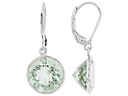 Photo of 10.29ctw Round Prasiolite Rhodium Over Sterling Silver Earrings