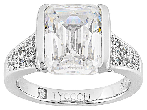 Photo of Tycoon For Bella Luce® 6.34ctw Emerald Cut & Round Platineve® Ring (4.20ctw Dew) - Size 10