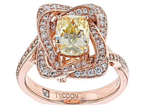 Tycoon For Bella Luce ® 3.20ctw Canary & White Diamond Simulant Etern0™ Rose Ring (2.20ctw Dew) - Size 8