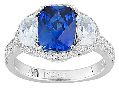 Photo of Tycoon For Bella Luce®4.29ctw Lab Created Sapphire And White Diamond Simulant Platineve®Ring - Size 8