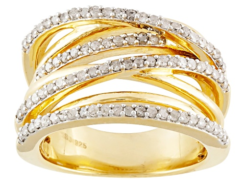 Photo of .75ctw Round Diamond Engild™ 14k Yellow Gold Over Sterling Silver Wide Crossover Band - Size 6