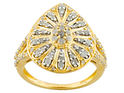 Photo of .76ctw Round Diamond Engild™ 14k Yellow Gold Over Sterling Silver Cluster Ring - Size 7