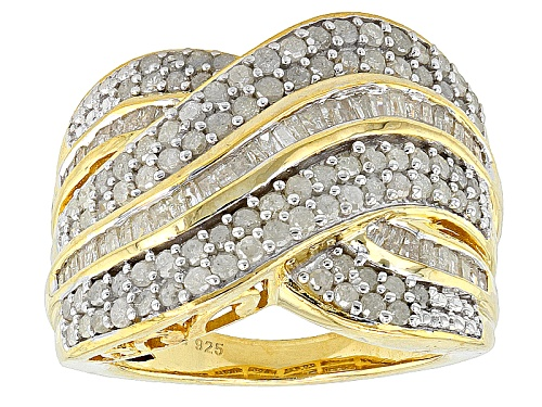 Photo of Engild™ 1.95ctw Round And Baguette White Diamond 14k Yellow Gold Over Silver Crossover Ring - Size 6