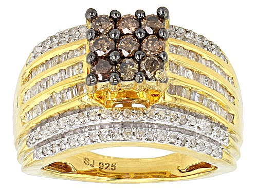 Photo of Engild™ 1.00ctw Champagne And White Diamond 14k Yellow Gold Over Sterling Silver Quad Ring - Size 7