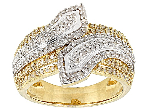 Photo of Engild™ .63ctw Round White Diamond 14k Yellow Gold Over Sterling Silver Bypass Ring - Size 6