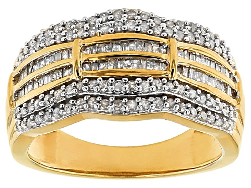 Photo of Engild™ .83ctw Round And Baguette White Diamond 14k Yellow Gold Over Sterling Silver Band Ring - Size 8