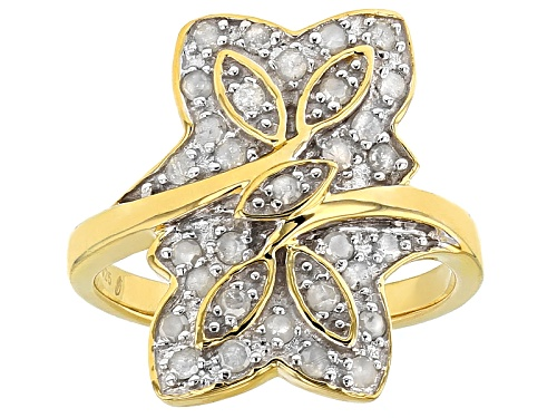 Photo of Engild™ .50ctw Round White Diamond 14k Yellow Gold Over Sterling Silver Flower Ring - Size 7