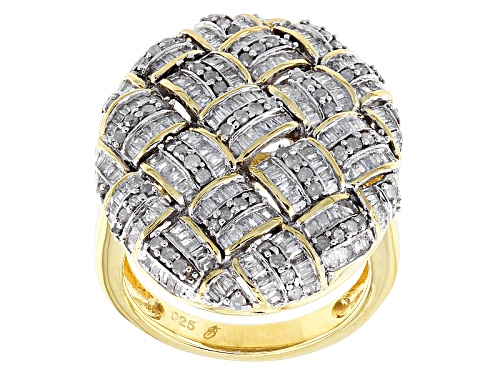 Photo of Engild™ 1.50ctw Baguette & Round White Diamond 14k Yellow Gold Over Sterling Silver Cluster Ring - Size 6