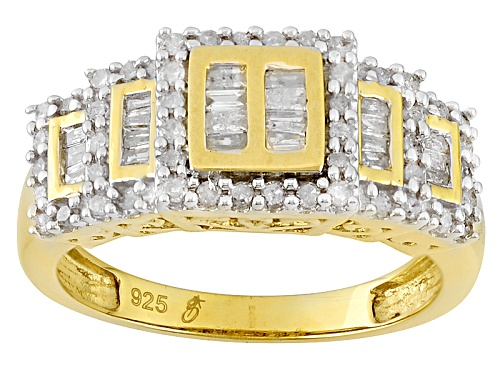Photo of Engild™ .50ctw Round And Baguette White Diamond 14k Yellow Gold Over Sterling Silver Cluster Ring - Size 8