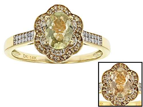 Photo of .72ct Turkish Diaspore With .11ctw Champagne And .09ctw White Diamond Accent 14k Yellow Gold Ring - Size 8